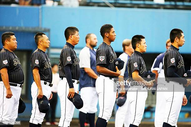 Outfielder Louis Okoye lines up for national anthem in the first round game between Czech Republic v Japan during the 2015 WBSC U-18 Baseball World...