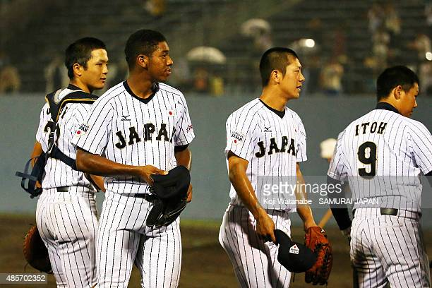 Outfielder Louis Okoye of Japan celebrates after winning in the first round game between Japan and USA during the 2015 WBSC U-18 Baseball World Cup...