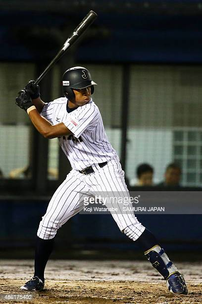 Outfielder Louis Okoye bats in the bottom half of the second inning in the first round game between Japan v Mexico during the 2015 WBSC U-18 Baseball...