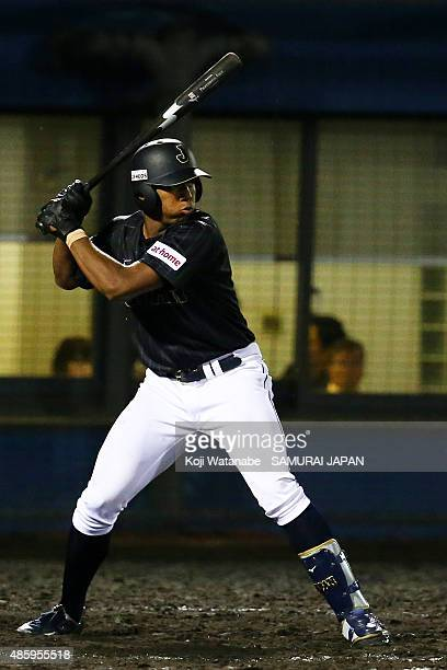Outfielder Louis Okoye bats in the top half of the nineth inning in the first round game between Australia v Japan during the 2015 WBSC U-18 Baseball...