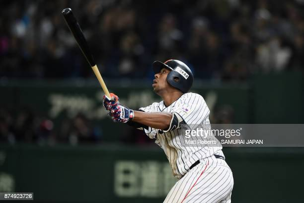 Outfielder Louis Okoye of Japan flies out in the bottom of ninth inning during the Eneos Asia Professional Baseball Championship 2017 game between...