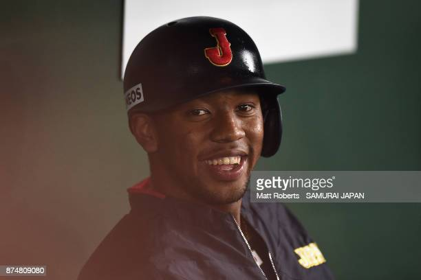 Outfielder Louis Okoye of Japan is seen prior to the Eneos Asia Professional Baseball Championship 2017 game between Japan and South Korea at Tokyo...