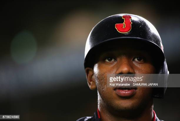 Outfielder Louis Okoye of Japan is seen prior to the Eneos Asia Professional Baseball Championship 2017 game between Chinese Taipei and Japan at...