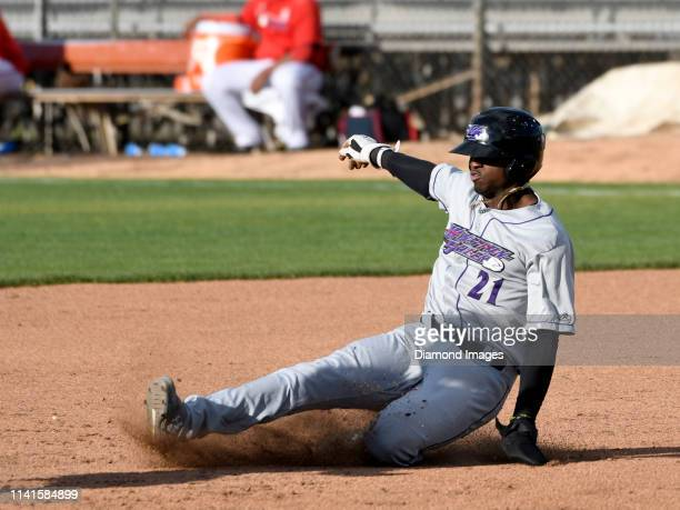Outfielder Luis Robert of the Winston-Salem Dash, single-A affiliate of the Chicago White Sox, steals secondbase during the top of the fourth inning...