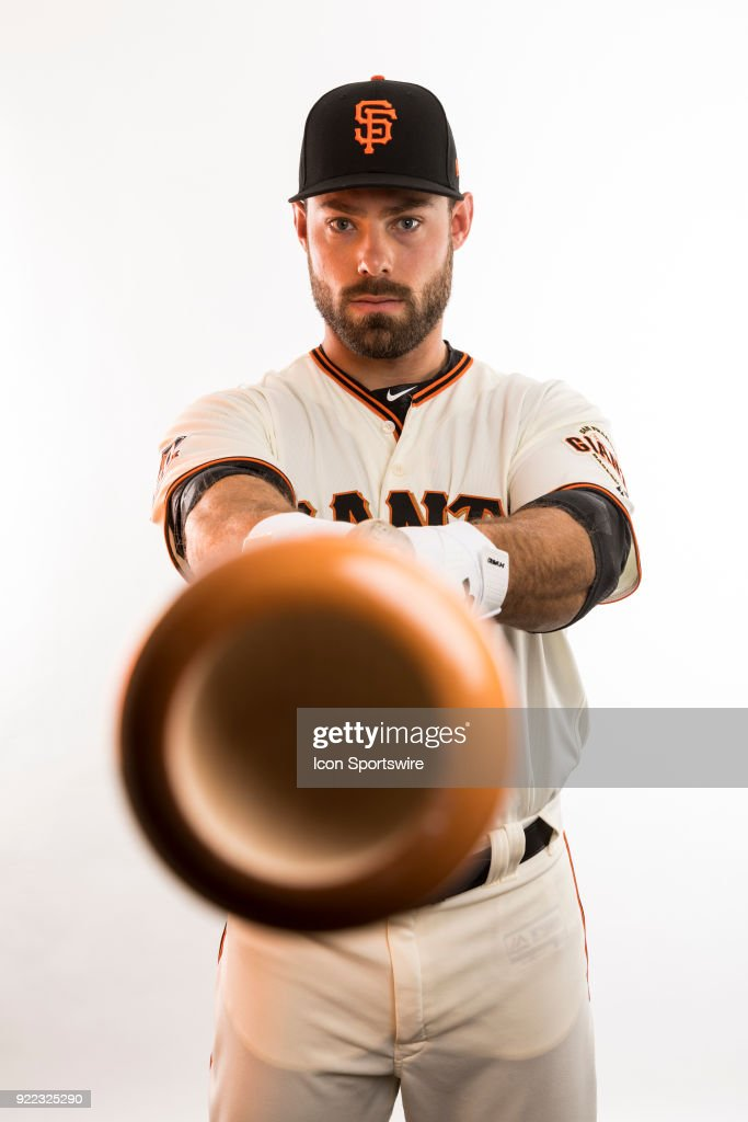 Outfielder Mac Williamson (51) poses for a photo during the San Francisco Giants photo day on Tuesday, Feb. 20, 2018 at Scottsdale Stadium in Scottsdale, Ariz.