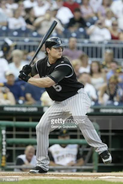 Outfielder Matt Holliday of the Colorado Rockies bats against the Pittsburgh Pirates at PNC Park on July 18 2006 in Pittsburgh Pennsylvania The...