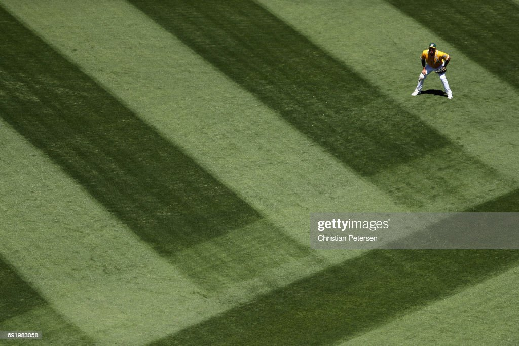 Outfielder Matt Joyce #23 of the Oakland Athletics in action during the sixth inning of the MLB game against the Washington Nationals at Oakland Coliseum on June 3, 2017 in Oakland, California. The Athletics defeated the Nationals 10-4.