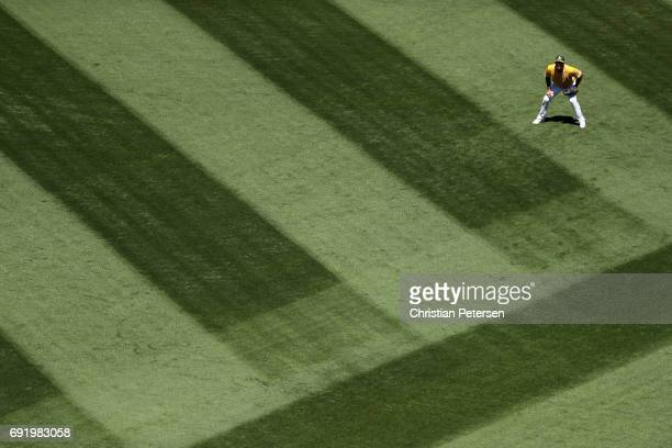 Outfielder Matt Joyce of the Oakland Athletics in action during the sixth inning of the MLB game against the Washington Nationals at Oakland Coliseum...