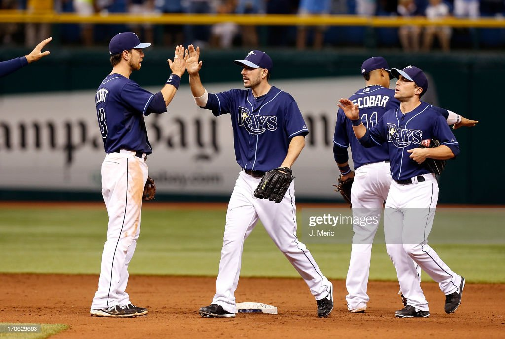 Outfielder Matt Joyce #20 of the Tampa Bay Rays celebrates the Rays victory over the Kansas City Royals at Tropicana Field on June 15, 2013 in St. Petersburg, Florida.