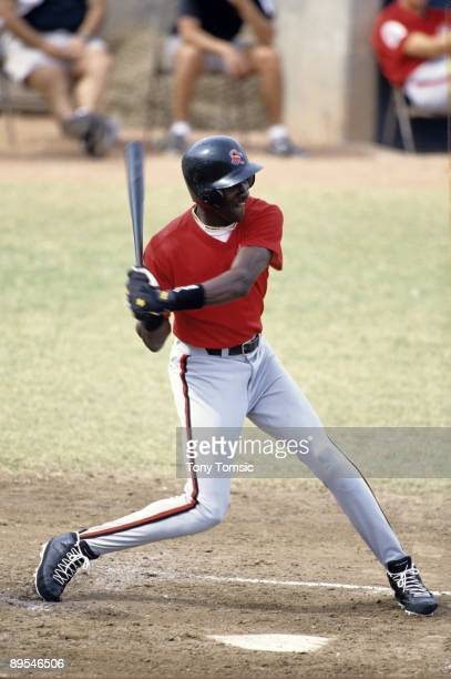Outfielder Michael Jordan of the Scottsdale Scorpions swings at a pitch during an Arizona Fall League game in October, 1994 in Arizona. Jordan is a...