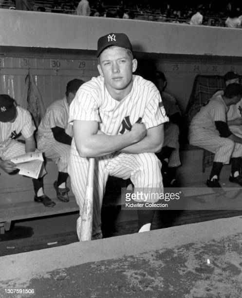 Outfielder Mickey Mantle of the New York Yankees poses for a portrait prior to a game at Yankee Stadium in April, 1951 in New York, New York. This...