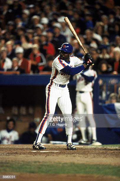 Outfielder Mookie Wilson of the New York Mets at bat during game 7 of the 1986 World Series against the Boston Red Sox at Shea Stadium on October 27...