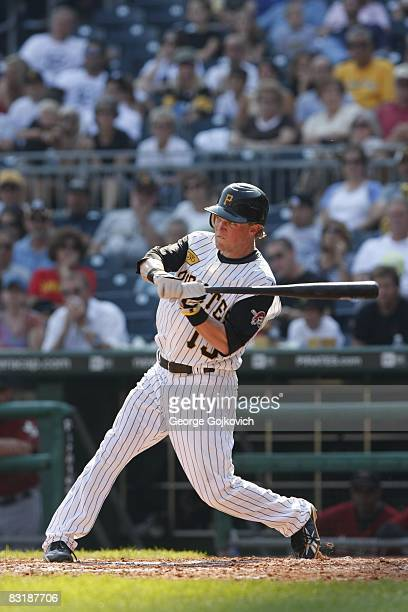 Outfielder Nate McLouth of the Pittsburgh Pirates bats against the Houston Astros during a game at PNC Park on September 21 2008 in Pittsburgh...