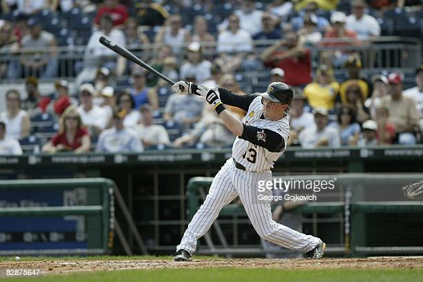 Outfielder Nate McLouth of the Pittsburgh Pirates bats against the St Louis Cardinals during a game at PNC Park on September 14 2008 in Pittsburgh...