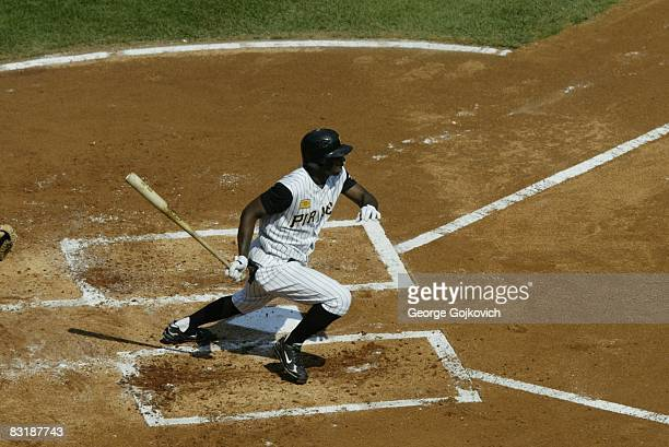 Outfielder Nyjer Morgan of the Pittsburgh Pirates bats against the Houston Astros during a game at PNC Park on September 21 2008 in Pittsburgh...
