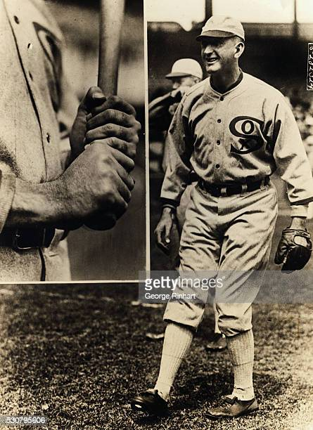 Outfielder of Joe Jackson of the Chicago White Sox and a closeup showing how the best batsman of the American League holds his bat Jackson until a...