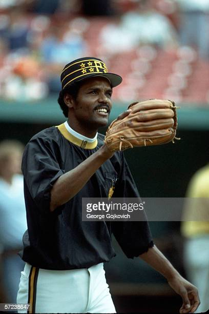 Outfielder Omar Moreno of the Pittsburgh Pirates on the field during pregame warmup prior to a game at Three Rivers Stadium in July 1982 in...