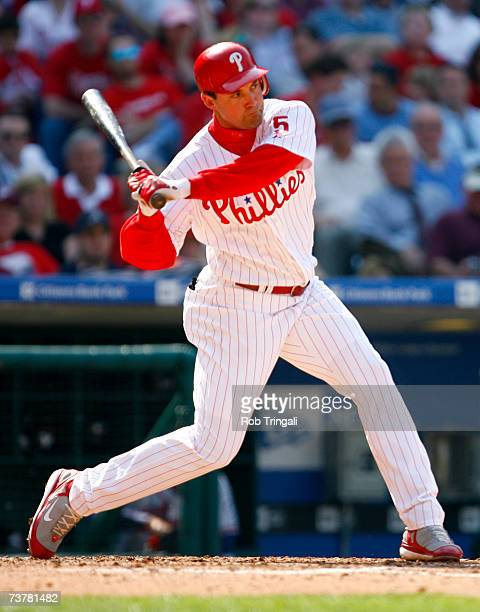 Outfielder Pat Burrell of the Philadelphia Phillies bats against the Atlanta Braves during a Opening Day game on April 2 2007 at Citizens Bank Park...