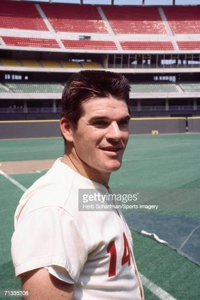 Outfielder Pete Rose of the Cincinnatii Reds during batting practice prior to the 1970 AllStar Game at Riverfront Stadium on July 14 1970 in...