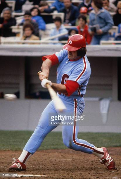 Outfielder Pete Rose of the Philadelphia Phillies takes a bat against the New York Mets at Shea Stadium during the late 1970s in Flushing New York