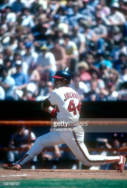 Outfielder Reggie Jackson of the Californian Angels bats during an Major League Baseball game circa 1986 at Anaheim Stadium in Anaheim California...
