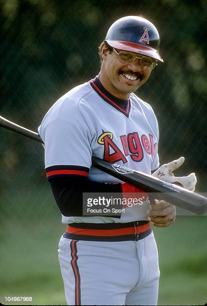 Outfielder Reggie Jackson of the Californian Angels in this portrait smiles for the camera during a Major League Baseball game circa 1986 Jackson...