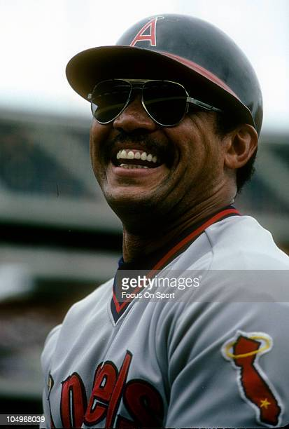 Outfielder Reggie Jackson of the Californian Angels in this portrait laughing during a Major League Baseball game circa 1986 Jackson played for the...