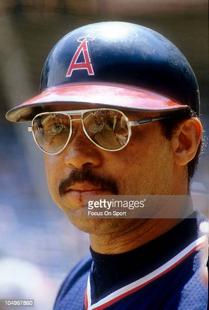 Outfielder Reggie Jackson of the Californian Angels looks on during batting practice prior to the start of a Major League Baseball game circa 1986...