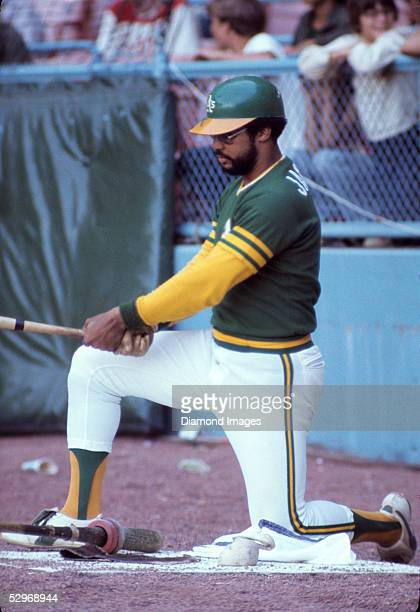 Outfielder Reggie Jackson of the Oakland A's in the on deck circle during a game on July 20 1974 at Municipal Stadium in Cleveland Ohio