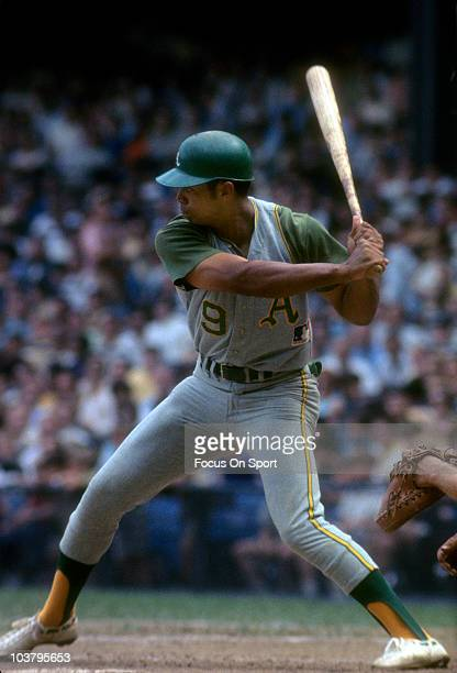 Outfielder Reggie Jackson of the Oakland Athletics at bat waiting on the pitch during a Major League Baseball game circa 1968 Jackson played for the...