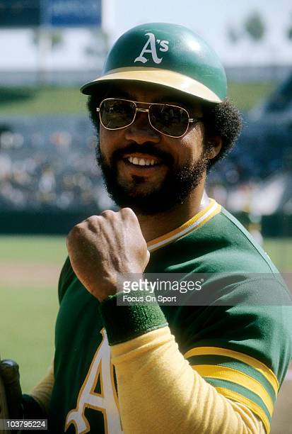 Outfielder Reggie Jackson of the Oakland Athletics smiles for the camera during a Major League Baseball game circa 1974 at the Oakland Coliseum in...