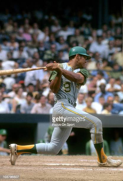 Outfielder Reggie Jackson of the Oakland Athletics swings at a pitch during a Major League Baseball game circa 1968 Jackson played for the Athletics...