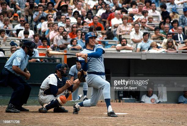 Outfielder Rick Monday of the Chicago Cubs bats against the New York Mets during an Major League Baseball game circa 1976 at Shea Stadium in the...