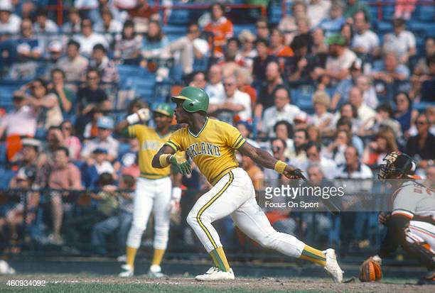 Outfielder Rickey Henderson of the Oakland Athletics bats against the Baltimore Orioles during an Major League Baseball game circa 1981 at Memorial...