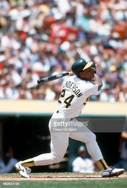 Outfielder Rickey Henderson of the Oakland Athletics bats during an Major League Baseball game circa 1992 at the OaklandAlameda County Coliseum in...