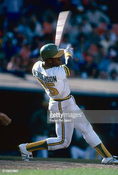 Outfielder Rickey Henderson of the Oakland Athletics bats during an Major League Baseball game circa 1981 at the OaklandAlameda County Coliseum in...