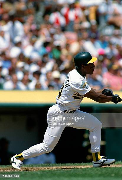 Outfielder Rickey Henderson of the Oakland Athletics bats during an Major League Baseball game circa 1992 at the OaklandAlameda County Coliseum in...