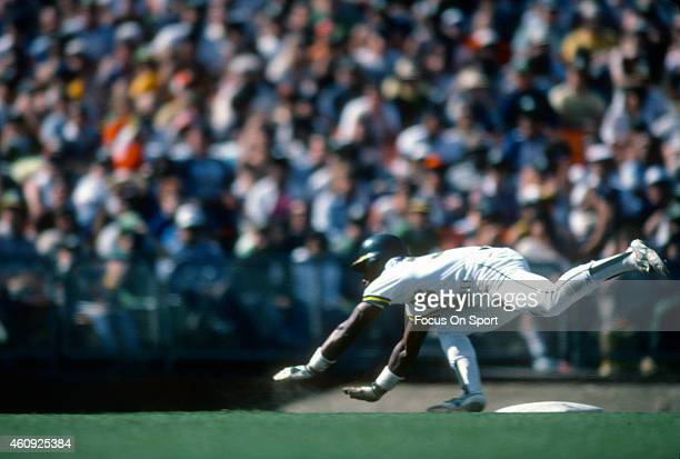Outfielder Rickey Henderson of the Oakland Athletics in action during an Major League Baseball game circa 1982 at the OaklandAlameda County Coliseum...