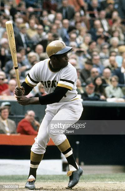 Outfielder Roberto Clemente of the Pittsburgh Pirates at the plate ready to hit against the Baltimore Orioles during the World Series October 1971 at...