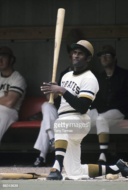 Outfielder Roberto Clemente of the Pittsburgh Pirates awaits his next at bat in the on deck circle during a game in 1972 at Three Rivers Stadium in...