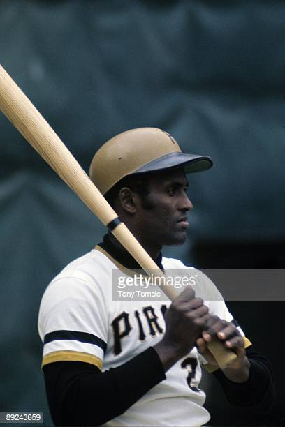 Outfielder Roberto Clemente of the Pittsburgh Pirates during a game in 1972 at Three Rivers Stadium in Pittsburgh Pennsylvania