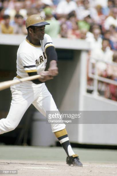 Outfielder Roberto Clemente, of the Pittsburgh Pirates, swings at a pitch during a game in August, 1972 at Three Rivers Stadium in Pittsburgh,...