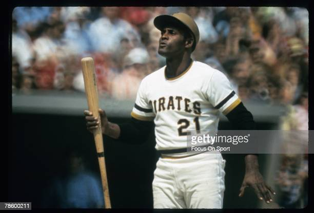 Outfielder Roberto Clemente Pittsburgh Pirates stands at home plate during a MLB baseball game circa early 1970s at Three Rivers Stadium in...