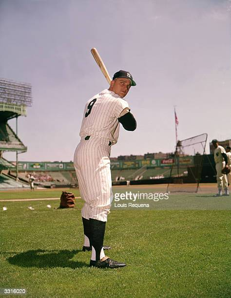 Outfielder Roger Maris of the New York Yankees poses for a portrait circa 196066 in Yankee Stadium in Bronx New York
