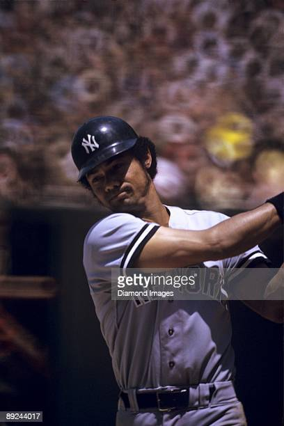 Outfielder Roy White of the New York Yankees follows through on a swing in the on deck circle during a game in a doubleheader on June 17 1973 against...
