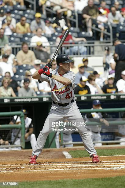 Outfielder Ryan Ludwick of the St Louis Cardinals bats during a game against the Pittsburgh Pirates at PNC Park on September 14 2008 in Pittsburgh...