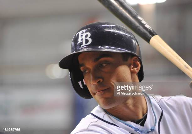 Outfielder Sam Fuld of the Tampa Bay Rays sets to bat against the Baltimore Orioles September 20 2013 at Tropicana Field in St Petersburg Florida The...