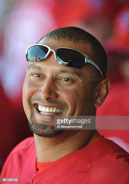 Outfielder Shane Victorino of the Philadelphia Phillies watches play from the dugout against the Tampa Bay Rays February 28, 2009 at Bright House...