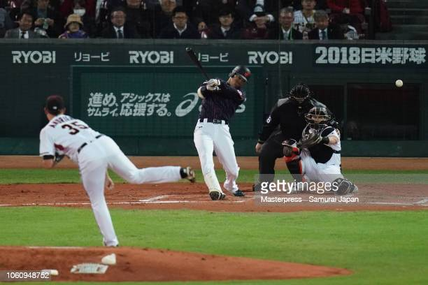 Outfielder Shogo Akiyama of Japan hits a single in the top of 3rd inning during the game four between Japan and MLB All Stars at Mazda Zoom Zoom...