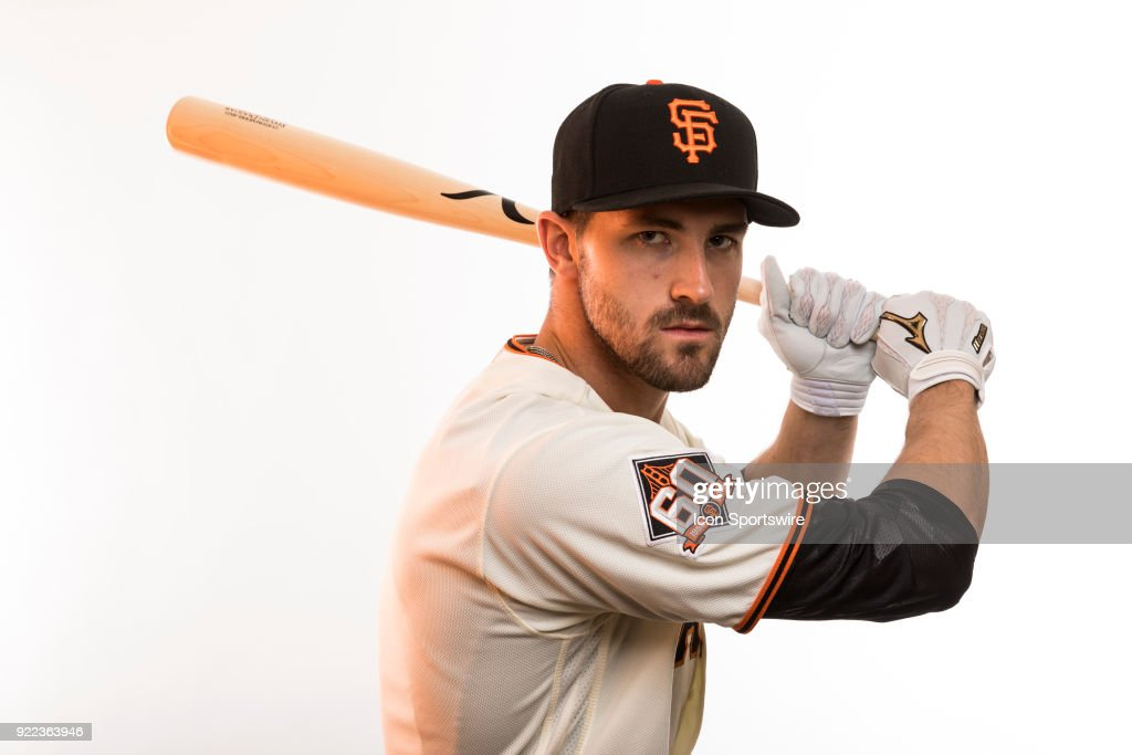 Outfielder Steven Duggar (78) poses for a photo during the San Francisco Giants photo day on Tuesday, Feb. 20, 2018 at Scottsdale Stadium in Scottsdale, Ariz.